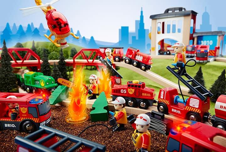 Holzeisenbahn Feuerwehr