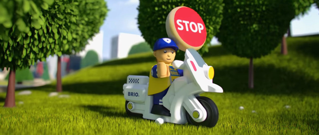 Das Polizeimotorrad aus dem Fahrzeug-Sortiment von BRIO